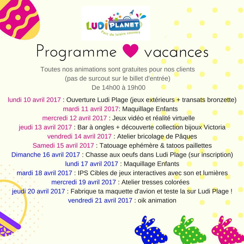 Programme des vacances de Ludi Planet