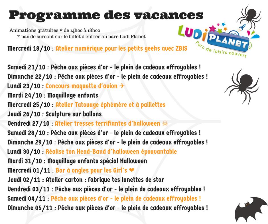 Programme des vacances Ludi Planet